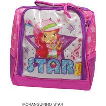 Lancheira Térmica Infantil Moranguinho Star + Estojo 2 Zíper