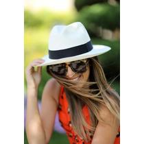 Chapéu Moda Panamá Aba Larga Reta Masculino Feminino Praia