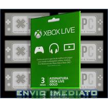 Xbox Live Gold Br Usa 3 Meses One 360 Cartão Brasil
