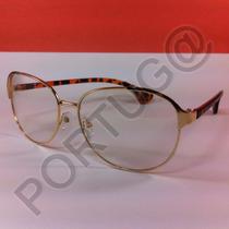 Armação Dourada C/tartaruga Metal/acetato Óculos Lentes Grau