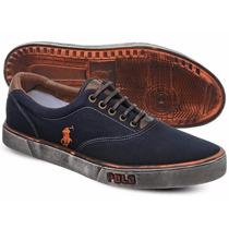 Tênis Polo Sneaker Masculino Azul Marinho E Laranja Manchado