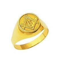 Anel Em Ouro 18k Teor 750 Oval Emblema Maçonaria - Fa202