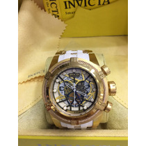 Relogio Invicta Bolt Zeus Skeleton Dourado Branco Cx Manual