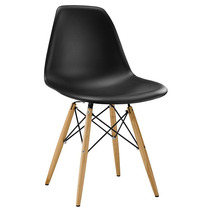 Cadeira Em Abs Design Charles Eames Wood Dsw Eiffel Preta