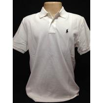Camiseta Polo Ralph Lauren Branco Com Cavalo Azul Tam G