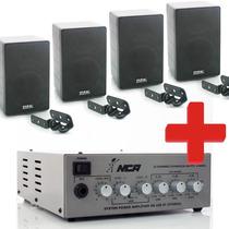Kit Som Ambiente 4 Caixa Acústica Amplificador Estéreo Músic