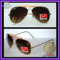 Óculos 3029 Caçador Dourado Lentes Marrons Degradê
