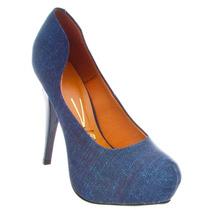 Sapato Scarpin Meia Pata Vizzano Jeans Feminino Confortável