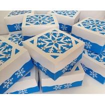 Caixa Tampa Em Papel Metalizado - Frozen - Elsa - Olaf