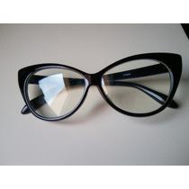Óculos Gato Gatinho Cat Eye Armação Grau Vintage Preto