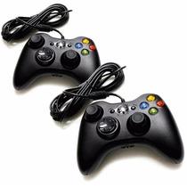 Kit 2 Controle Xbox 360 Ou Computador Com Fio Analógico Feir