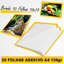 Papel Foto Auto Adesivo A4 130 Gr 20 Folhas + Brinde.