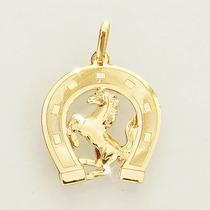 Pingente Cavalo E Ferradura De Ouro 18k 750 Ferrari Feminino
