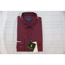Camisa Social Masculina Polo Rauph Lauren, Cor Vermelho Esc.