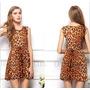 Vestido Leopardo Tigresa Oncinha Chiffon Pronta Entrega