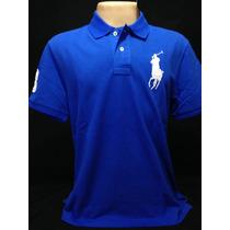Camiseta Polo Ralph Lauren Azul Big Poney Branco Tam Gg