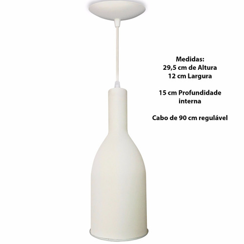 Pendente Lustre Luminaria Garrafa Branca C / Refletor Branco
