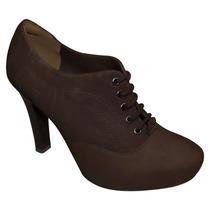 Sapato Ankle Boot Camurça Via Marte N° 37 Cor Marrom (11221)