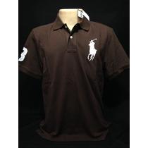Camiseta Polo Ralph Lauren Marrom Big Poney Branco Tam G