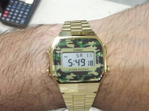 d8feae9a7b1 Relógio Casio Vintage A168 Dourado Gold Camuflado Original. Preço  R  289  Veja MercadoLibre