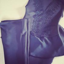 Conjunto Feminino Blusa Peplum + Calça Flare Moda Blogueira