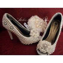 Sapatos Personalizados Para Noivas Strass Renda E Perolas