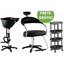 Kit Salão Cabeleireiro Completo: Cadeira Lavatório Carrinho