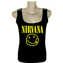 Camiseta Blusa Regata Feminina Rock Bandas Nirvana