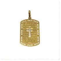 Pingente Medalha Pai Nosso Masculino Ouro Amarelo 18k Certif
