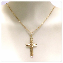 Corrente De 60cm 1.4 Grs Pingente Crucifixo Joia De Ouro 18k