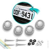 Capa De Parafuso De Placa Cromada Prata 4 Unidades