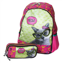 Mochila Escolar De Costas Com Estojo Meow Happy Girl Chenson
