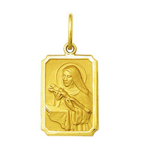 Pingente Medalha Santa Rita Ouro 18k Médio