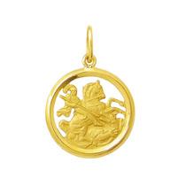 Leão Jóias Pingente Medalha São Jorge 1,8cm Ouro 18k