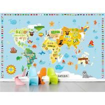 Adesivo Quarto Infantil Zoo Mapa Mundi Animais Papel Parede