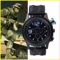Relógio Quartz Masculino V6 Super Speed Mod. Militar Aviação
