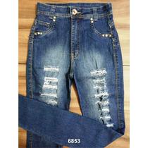 Calça Jeans Kamdesh Hot Pants Cintura Alta Rasgada Com Elast