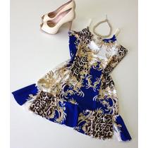 Moda Feminina Vestido De Alcinha Estampado E Com Babado