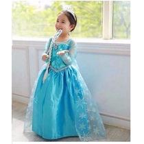 Fantasia Vestido Frozen Elsa Anna Princesa Com Acessórios
