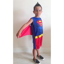 Fantasia Infantil Super Homem C/ Capa - Aniversário Carnaval