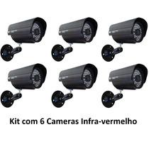 Kit 6 Câmeras Segurança Vídeo Ccd Digital Infra 36 Led Color