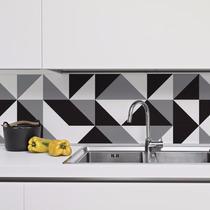 Adesivo Azulejo Cozinha 20x20 Preto E Branco New York