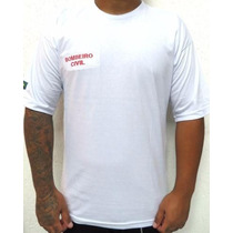 Camiseta Bombeiro Civil Branca Novo Modelo