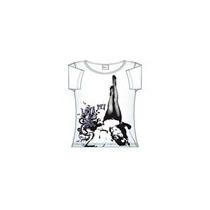 Camiseta Decote Canoa Branca Estampa Tam.g Algodão Blusa