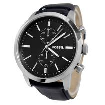 Relógio Fossil Masculino Fs4866 Pulseira De Couro Preto