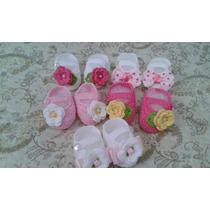 Kit Com 5 Sapatinhos De Crochê Para Bebê