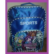 Mochila Escolar Infantil Monster High Sports S Rodas 41x30cm