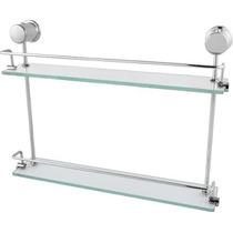 Porta Shampoo Duplo Super Luxo Em Vidro E Alumínio
