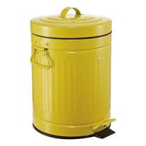 Lixeira Retro Vintage Amarela 3 Litros Ferro Com Pedal