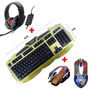 Kit Gamer Led Teclado + Mouse Neon+ Fone Ouvido Headset Game